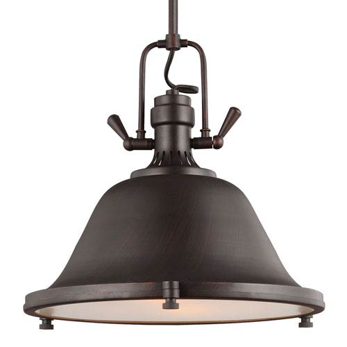 Stone Street Burnt Sienna Two-Light  Pendant with Satin Etched Glass Diffuser