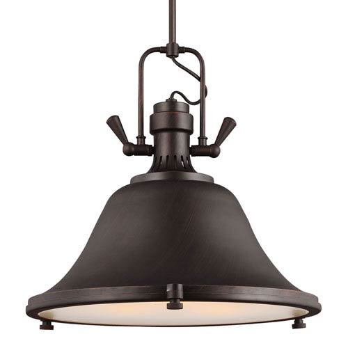 Sea Gull Lighting Stone Street Burnt Sienna Three-Light  Pendant with Satin Etched Glass Diffuser