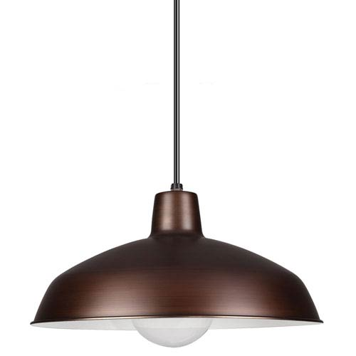 Painted Shade Pendants Antique Brushed Copper One Light Pendant