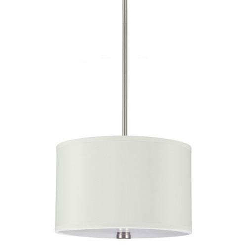 Sea Gull Lighting Dayna Brushed Nickel 9-Inch Two Light Pendant with Faux Silk Shade
