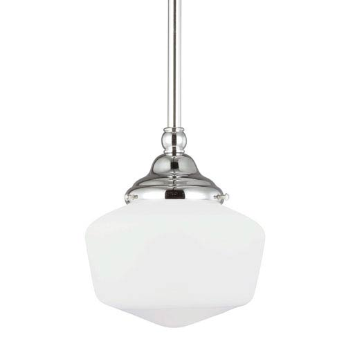 Academy Chrome One-Light Pendant with Satin White Schoolhouse Glass