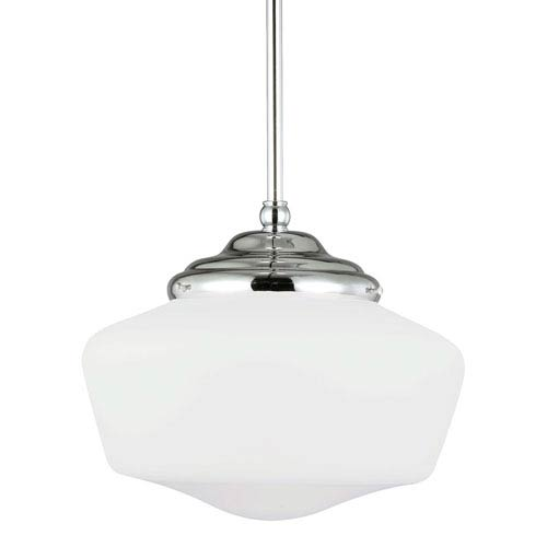 Academy Chrome Medium One-Light Pendant with Satin White Schoolhouse Glass