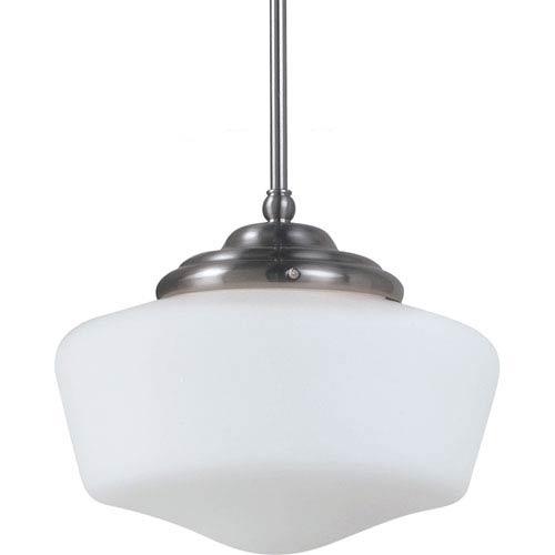 Sea Gull Lighting Academy Brushed Nickel Large LED One Pendant with Satin White Schoolhouse Glass
