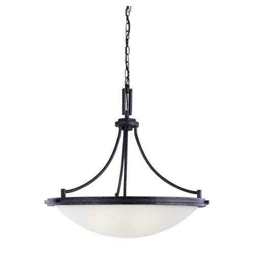 Winnetka Four-Light Blacksmith Pendant with Satin EtchedGlass