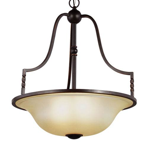 Sea Gull Lighting Trempealeau Roman Bronze Four-Light  Extra Large Up Pendant with Champagne Seeded Glass