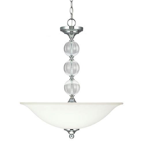 Sea Gull Lighting Englehorn Chrome and Optic Crystal 24-Inch Three Light Pendant