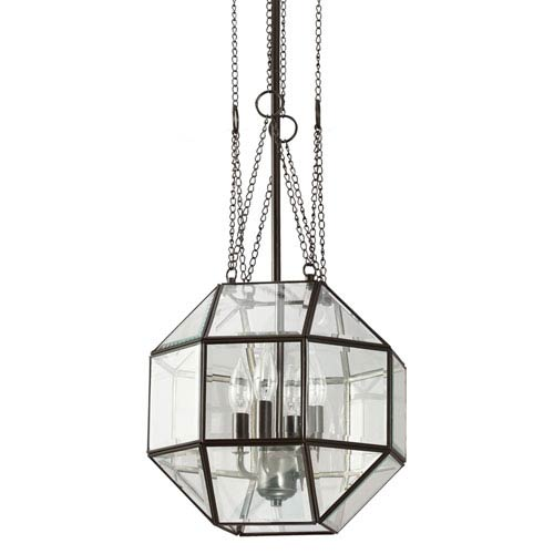 Lazlo Heirloom Bronze Medium Four Light Hall Foyer Pendant with Clear Glass