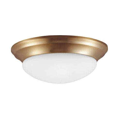 Sea Gull Lighting Nash Satin Bronze One Light Fixture Flush Mount with Satin Etched Glass