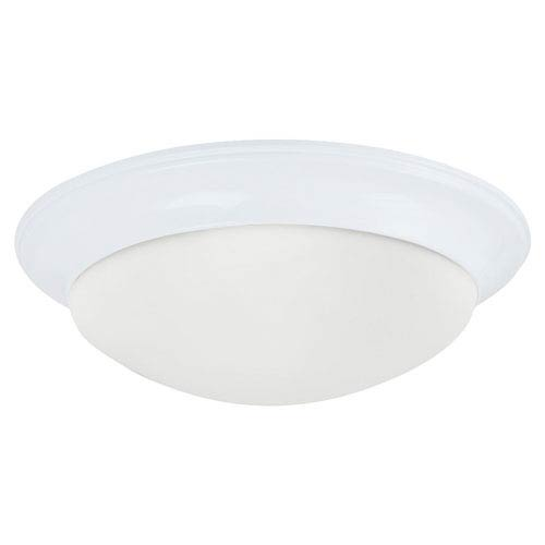 Sea Gull Lighting Nash White Small LED Ceiling Flush Mount with Satin Etched Glass