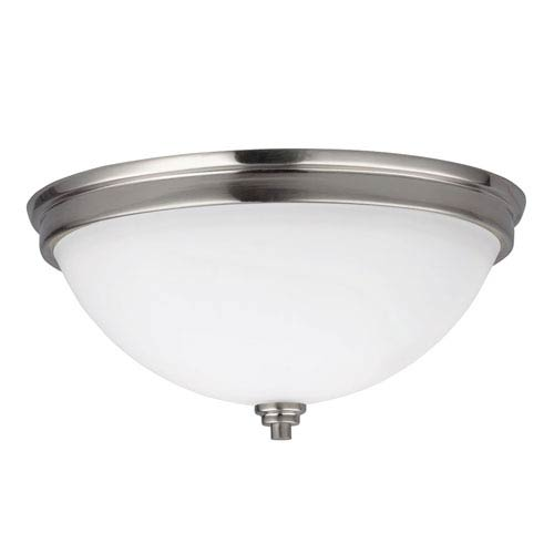 Sea Gull Lighting Parkfield Brushed Nickel Two Light Flush Mount with Satin Etched Glass Painted White Inside
