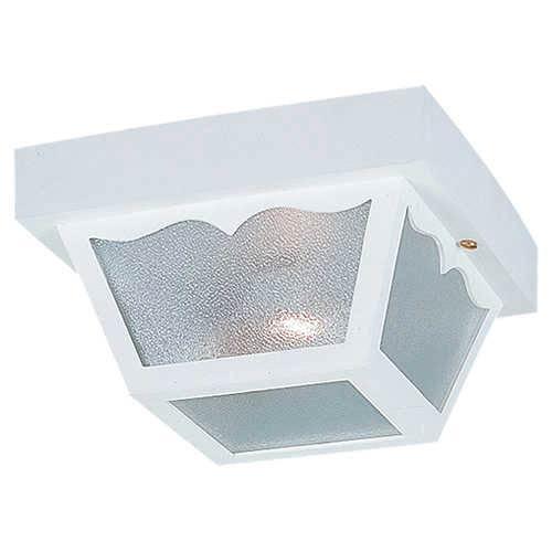 White One-Light Outdoor Flush Mount