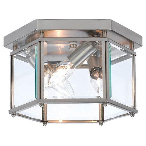 Bretton Brushed Nickel Large Semi-Flush Ceiling Light