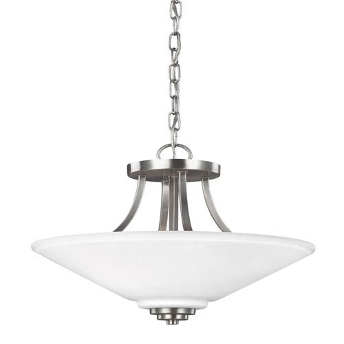Sea Gull Lighting Parkfield Brushed Nickel Two-Light  Semi-Flush Convertible Pendant with Etched Glass