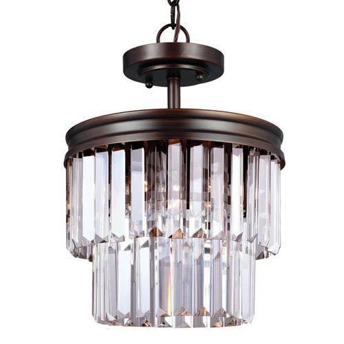 Carondelet Burnt Sienna Two-Light  Semi-Flush Convertible Pendant with Prismatic Glass