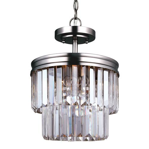 Carondelet Antique Brushed Nickel Two-Light Semi-Flush Convertible Pendant with Prismatic Glass