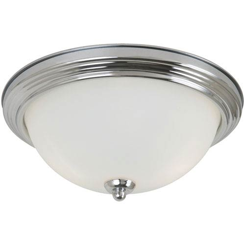 Sea Gull Lighting Chrome LED 10-Inch Ceiling Flush Mount with Satin Etched Glass