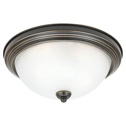 Sea Gull Lighting Heirloom Bronze LED 13-Inch Ceiling Flush Mount with Satin Etched Glass
