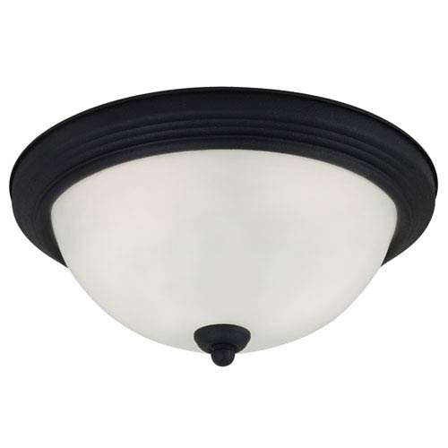 Sea Gull Lighting Blacksmith LED 13-Inch Ceiling Flush Mount with Satin Etched Glass