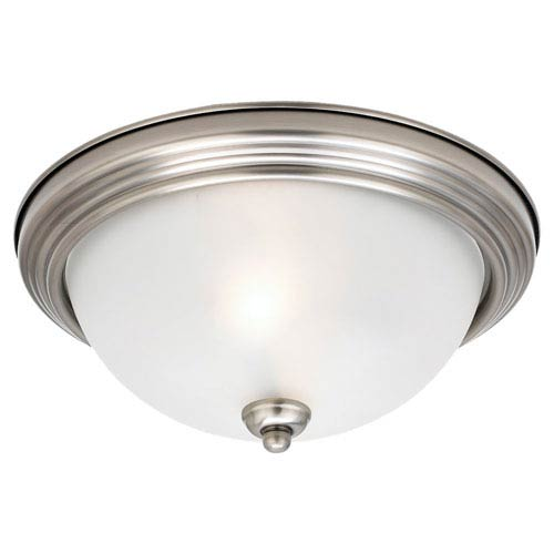 Sea Gull Lighting Antique Brushed Nickel LED 15-Inch Ceiling Flush Mount with Satin Etched Glass