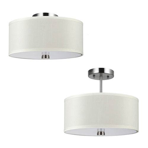 Dayna Brushed Nickel Two-Light Convertible Semi-Flush Mount with Faux Silk Shade
