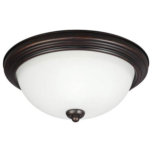 Sea Gull Lighting Burnt Sienna Two Light Ceiling Flush Mount with Satin Etched Glass