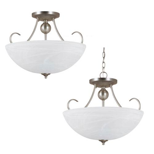 Sea Gull Lighting Lemont Antique Brushed Nickel  Three-Light Close to Ceiling Light