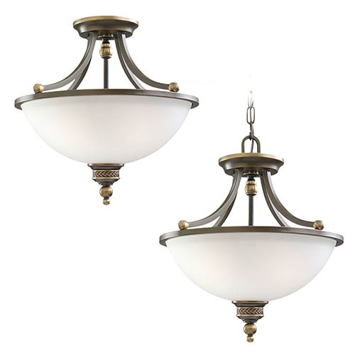 Sea Gull Lighting Laurel Leaf Estate Bronze Two-Light Semi-Flush Convertible Pendant