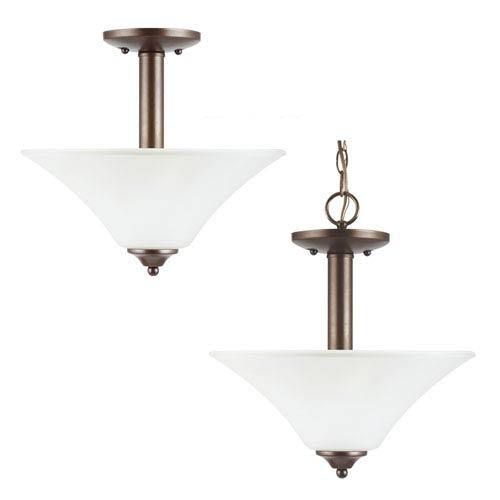 Sea Gull Lighting Holman Bell Metal Bronze  Two-Light Close to Ceiling Light