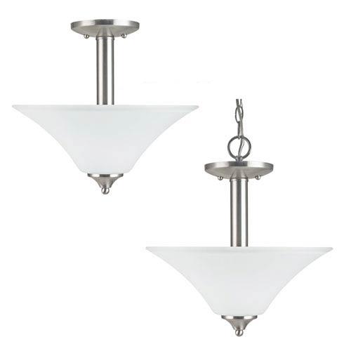 Sea Gull Lighting Holman Brushed Nickel  Two-Light Close to Ceiling Light
