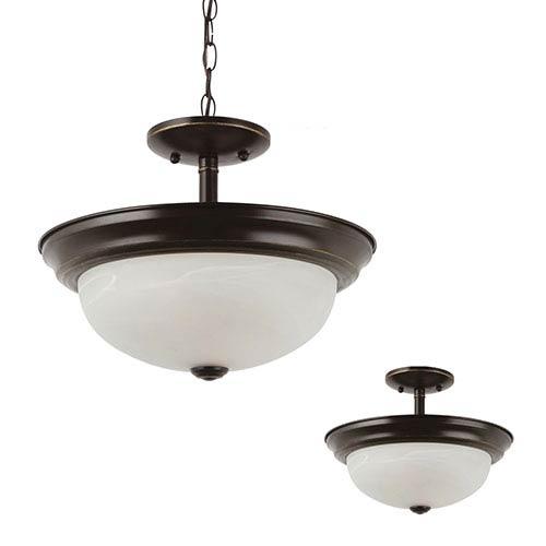 Sea Gull Lighting Windgate Heirloom Bronze Two-Light Semi-Flush Convertible Pendant