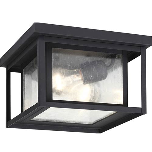 Outdoor ceiling lighting exterior light fixtures bellacor hunnington black two light outdoor flush mount with clear seeded glass aloadofball Image collections