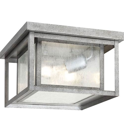 Hunnington Weathered Pewter Two-Light Outdoor Flush Mount with Clear Seeded Glass