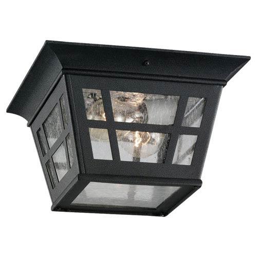 Sea Gull Lighting Herrington Two-Light Black Outdoor Flush Mount