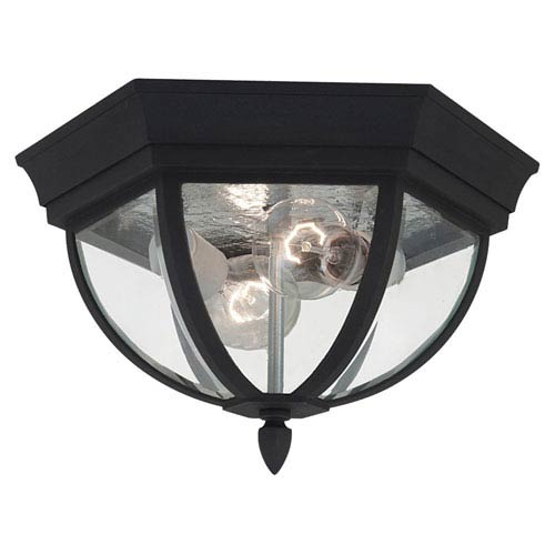 Sea Gull Lighting Bakersville Black Outdoor Wall Lantern