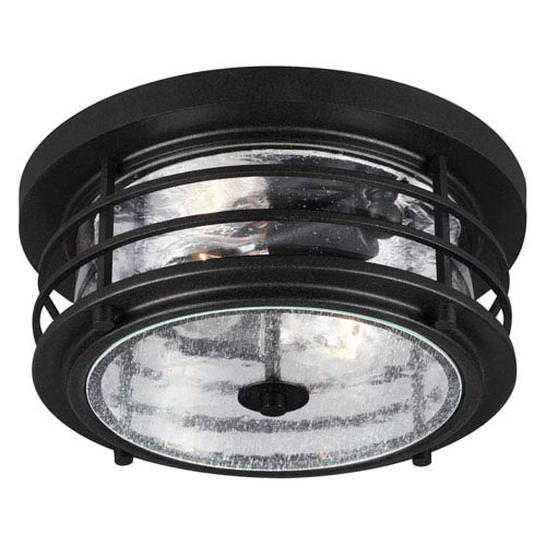 Sea Gull Lighting Sauganash Black Two Light Outdoor Ceiling Flush Mount Fixture