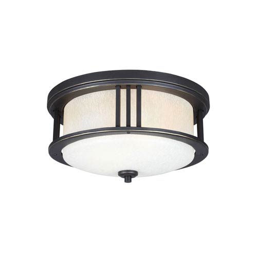 Crowell Antique Bronze Two-Light Outdoor Flush Mount