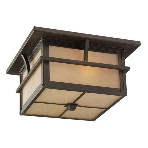 Sea Gull Lighting Medford Lakes Two-Light Statuary Bronze Outdoor Flush Mount