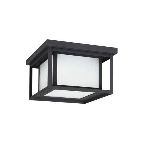 Hunnington Black 10-Inch Two-Light Outdoor Flush Mount