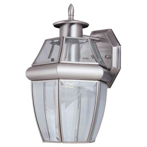 Curved Beveled Nickel One-Light Outdoor Wall Mount