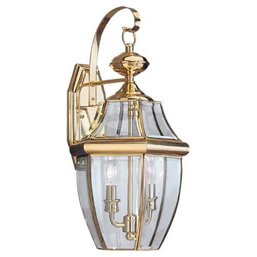Curved Beveled Brass Two-Light Outdoor Wall Mount