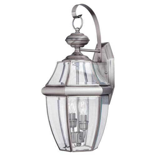 Curved Beveled Nickel Two-Light Outdoor Wall Mount