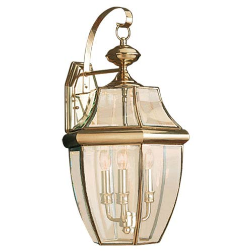 Curved Beveled Brass Three-Light Outdoor Wall Mount