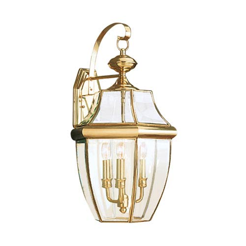 Lancaster Polished Brass 12-Inch Energy Star Three-Light Outdoor Wall Lantern