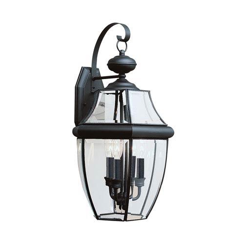 Lancaster Black 12-Inch Energy Star Three-Light Outdoor Wall Lantern