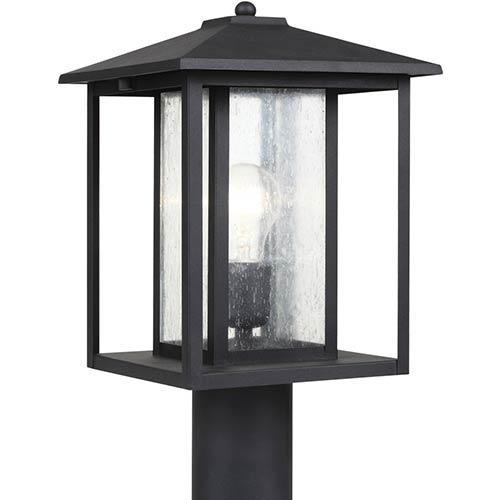 Sea Gull Lighting Hunnington Black One-Light Outdoor Post Lantern with Clear Seeded Glass