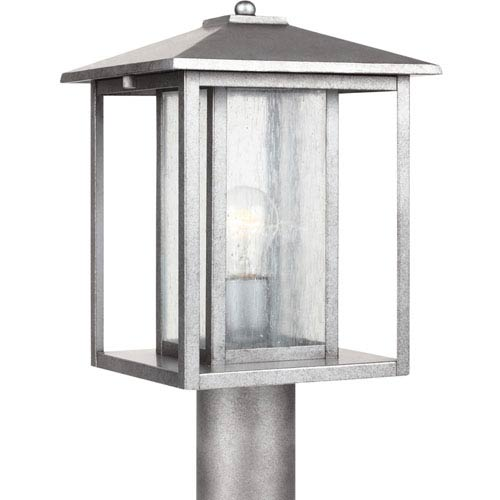 Hunnington Weathered Pewter One-Light Outdoor Post Lantern with Clear Seeded Glass