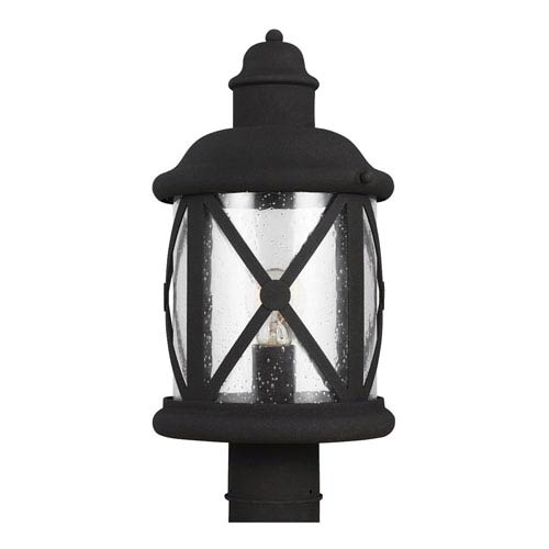 Sea Gull Lighting Lakeview Black One-Light Post Mount with Clear Seeded Glass