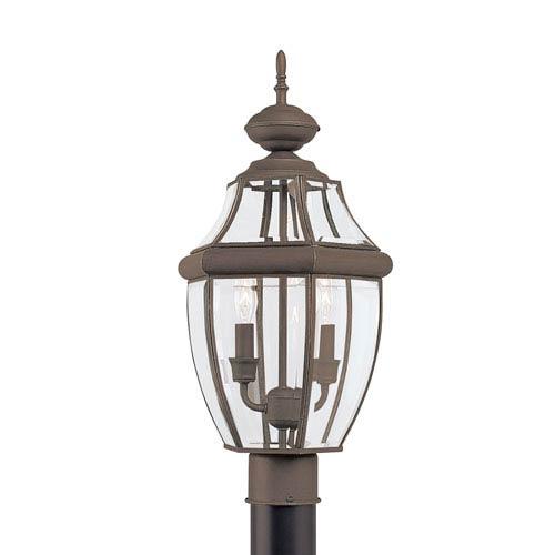Lancaster Antique Bronze 10-Inch Energy Star Two-Light Outdoor Post Lantern