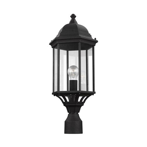 Sea Gull Lighting Sevier Black 9-Inch One-Light Outdoor Post Lantern