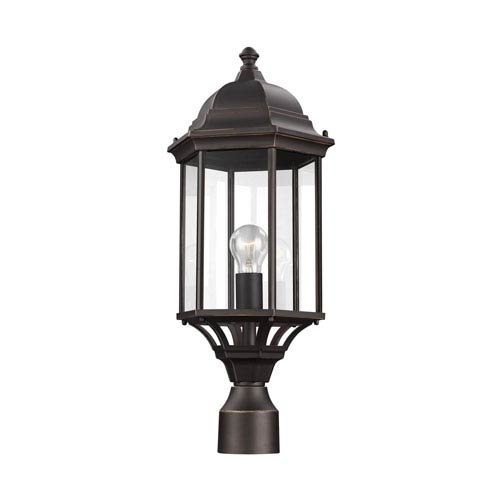 Sea Gull Lighting Sevier Antique Bronze 9-Inch One-Light Outdoor Post Lantern